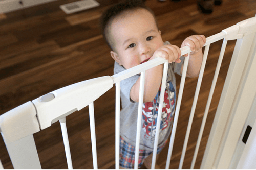 Baby Hanging On Baby Gates
