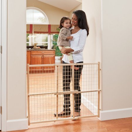 Mom And Child In Front Of Baby Gate